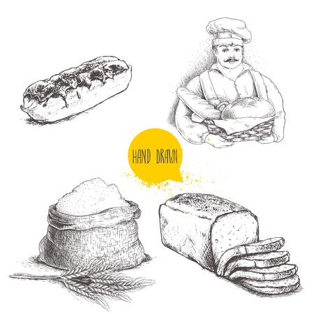 手描きのセットのパン屋さんのイラスト。焼きたてのパン、パン屋はパン、エクレール、小麦の束と小麦粉が付いている袋をスライスしました。ベ