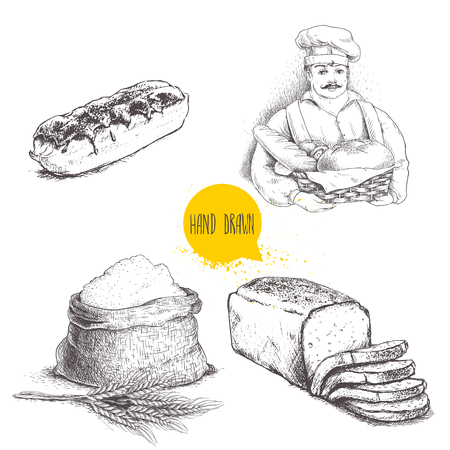 Hand drawn set bakery illustrations. Baker with  fresh bread, sliced bread loaf, eclair and sack with  flour with wheat bunch. Vector illustration isolated on white background. Illustration