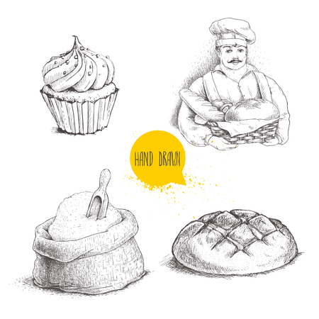 cupcake illustration: Hand drawn set bakery illustrations. Baker with baker basket of fresh bread, bread loaf, cupcake  and sack with flour and wooden scoop isolated on white background.