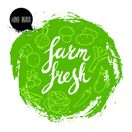 turnip: Farm fresh hand written phrase with vegetables on stylized green rough circle.  Inscription ink farm fresh. Line icons of veggies. Illustration