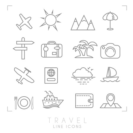 mountain pass: Outline thin travel and vacation icons set. Airplane, sun, umbrella, suitcase, palms, photo camera, pass, sea horizon, yacht, ship, wallet, map and points, wooden arrows, mountains. Illustration