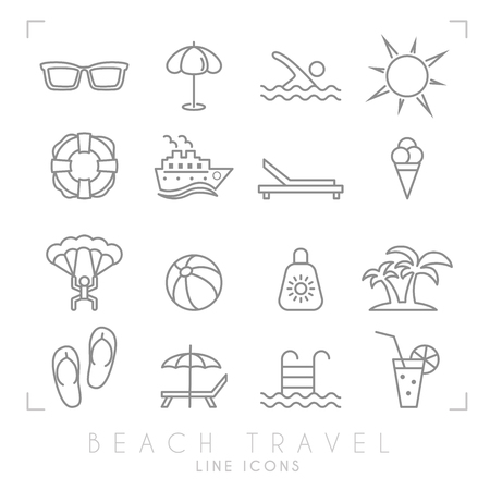Outline thin travel and vacation icons set. Sunglasses, umbrella, swim, sun, lifebuoy, ship, desk chair, ice cream, air sports, ball, sun cream, palms, flip flops, pool, bar and cocktail. Illustration
