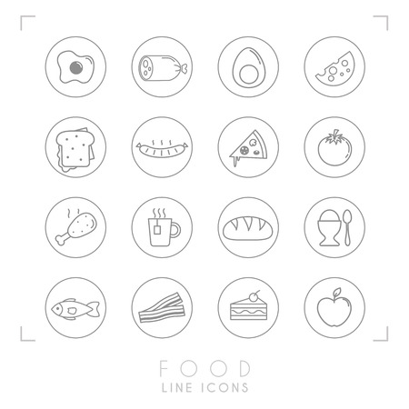 Set of line daily food icons in line circles. Flat style. Fried egg, sausage, boiled egg, cheese, sandwich, pizza, tomato, chicken leg, cup of tea, bread, egg, fish, bacon, cake, apple