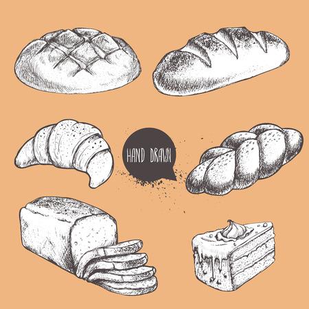 빈티지 손으로 그린 스케치 스타일 빵집 집합. 빵, 크로, 덩어리, 롤빵, 얇게 썰 렸던 빵과 케이크의 일부.