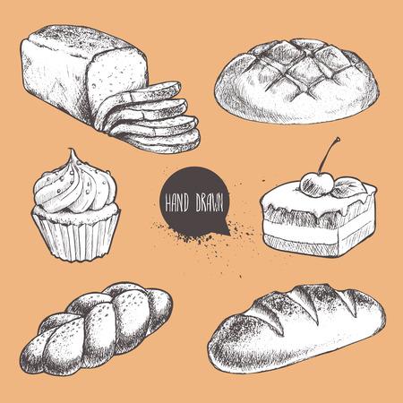 빈티지 손으로 그린 스케치 스타일 신선한 빵집 집합. 빵, 얇게 썬된 빵, 롤빵, 덩어리, 체리와 크림 먹고 케이크.