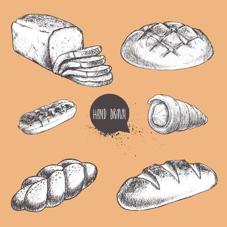 빈티지 손으로 그린 스케치 신선한 스타일 빵집 집합을 그려. 빵, 크림 롤 튜브, eclair, 롤빵, 덩어리, 얇게 썬 빵.
