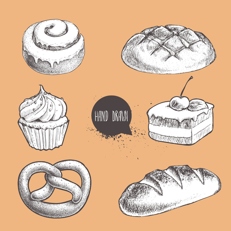 Vintage hand drawn sketch fresh style bakery set. Bread, cupcake with cream, cake with cherry, german pretzel and fresh loaf.