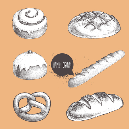 Vintage hand drawn sketch fresh style bakery set. Bread, iced bun, cinnamon iced bun, baguette, german pretzel and bread loaf.