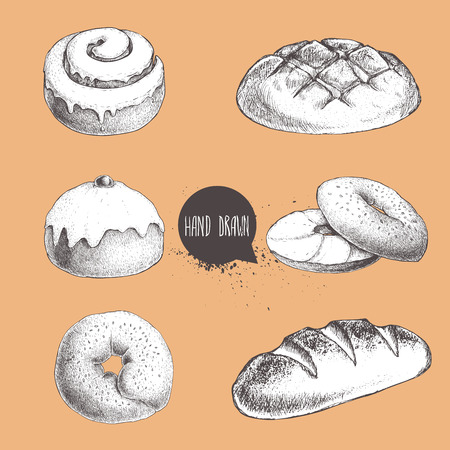 Vintage hand drawn sketch fresh style bakery set. Bread, iced bun, cinnamon iced bun, bagel with sesame and bagel with cream cheese and bread loaf.
