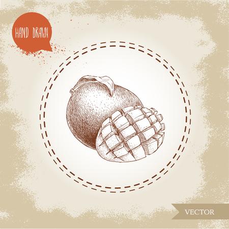 手には、リーフとキューブとフルーツが描かれました。  イラスト・ベクター素材