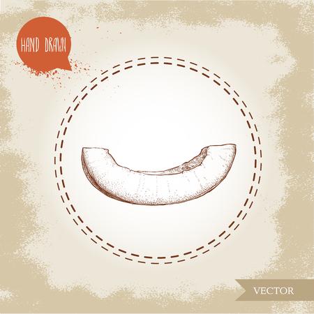 メロン スライスの手描きスケッチ スタイル イラスト。有機食品のベクトル図です。