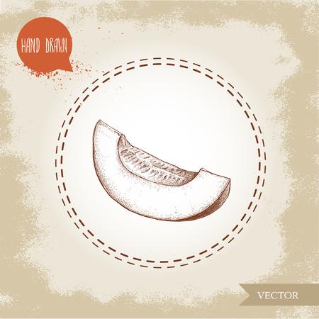 手描きのスケッチ イラスト メロン スライスの半分。有機食品のベクトル図です。
