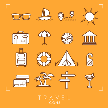 Travel and vacation icons set. Sunglasses, yacht, route, sun, suitcase, umbrella, museum, luggage, lifebuoy, camping tent, message, money card, palms, arrows, cocktail.