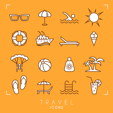 Travel and vacation icons set. Sunglasses, umbrella, swim, sun, lifebuoy, ship, desk chair, ice cream, air sports, ball, sun cream, palms, flip flops, pool, bar and cocktail.
