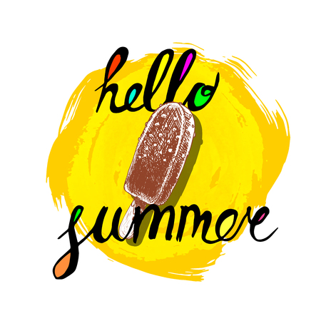 Hello summer hand written phrase with colorful fills and  chocolate ice cream. Illustration