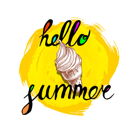 Hello summer hand written phrase with colorful fills and ice cream cone. Illustration