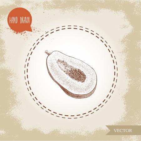 Hand gezeichneter halber Schnitt der Papayafrucht mit Samen. Skizzenartweinlese-Vektorillustration des exotischen Lebensmittels des Sommers. Standard-Bild - 82117630