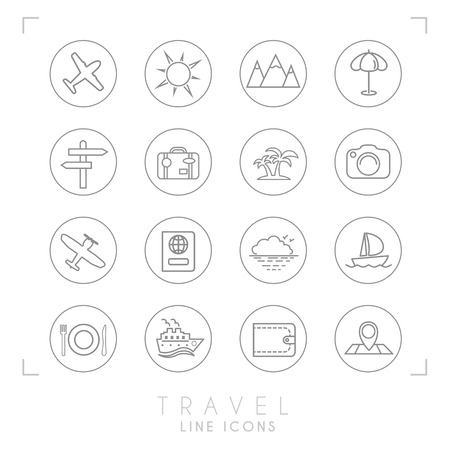 Thin outline of travel and vacation icons set in circles: Airplane, sun, umbrella, suitcase, palms, photo camera, pass, sea horizon, yacht, ship, wallet, map and points, wooden arrows, mountains.