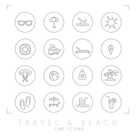 Travel and vacation icons set in circles: Sunglasses, umbrella, swim, sun, lifebuoy, ship, desk chair, ice cream, air sports, ball, sun cream, palms, flip flops, pool, bar and cocktail.