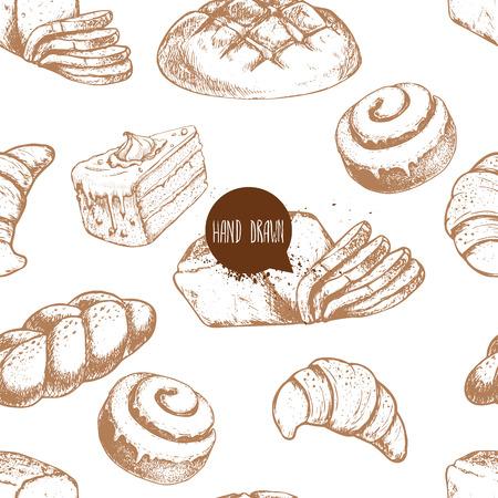 Seamless vector pattern with bakery goods. Bread, bun, iced cinnamon bun, sliced italian bread, cake and croissant.