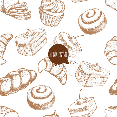 Seamless vector pattern with bakery goods. Bread, bun, iced cinnamon bun, cupcake, cake and croissant.