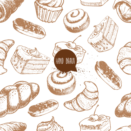 Seamless vector pattern with bakery goods. Cream roll, chocolate eclair, iced cinnamon bun, cupcake, cake and croissant.