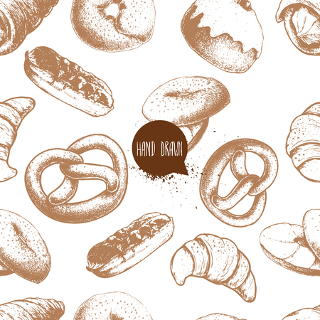 Seamless vector pattern with bakery goods. Cream roll, chocolate eclair, iced cinnamon bun, german pretzel, bagels with cream and croissant.