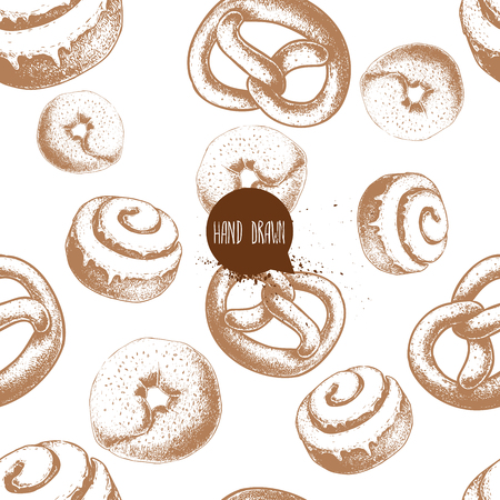 Seamless vector pattern with bakery goods. Bagels, german pretzels and iced cinnamon bun. Hand drawn sketch style.