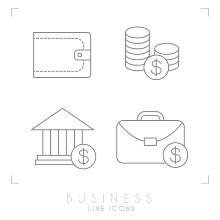 Set of line thin business and financial icons. Wallet, coins, bank and brief case. Illustration