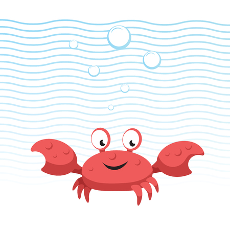 Trendy cartoon style red crab character. Simple gradient flat design for kid education. Waves and bubbles. Underwater life.