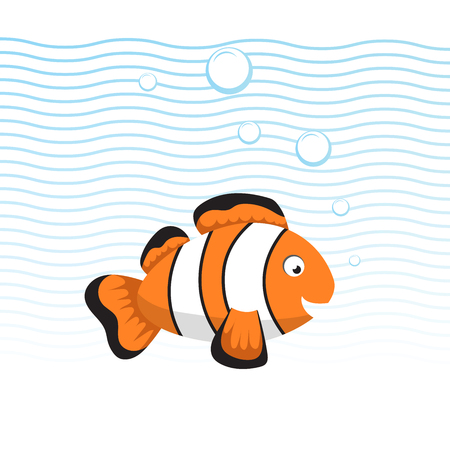 Cute cartoon style clown fish swimming underwater. Waves and bubbles. Trendy flat simple gradient vector illustration. Illustration
