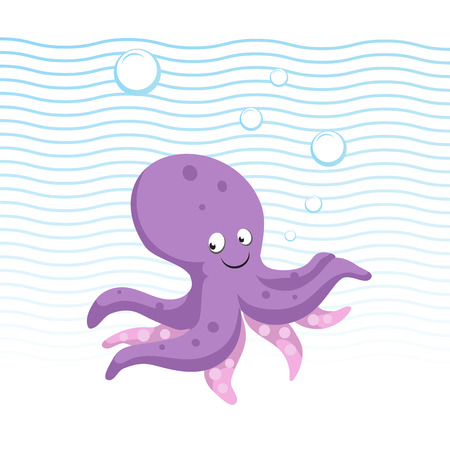 Trendy cartoon style octopus character. Simple gradient flat design for kid education. Waves and bubbles. Underwater life. Illustration