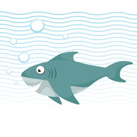 水中水泳の大きな目でトレンディな漫画スタイルの陽気なサメ。波や泡。教育の単純なグラデーション ベクター アイコン。