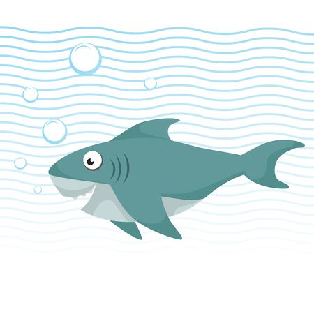 Trendy cartoon style cheerful shark with big eyes swimming underwater. Waves and bubbles. Educational simple gradient vector icon. Ilustração