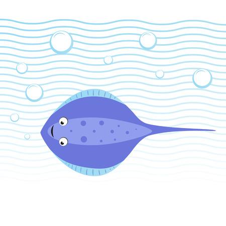 トレンディな漫画スタイルの陽気なアカエイの水中泳いで。波や泡。教育の単純なグラデーション ベクター アイコン。