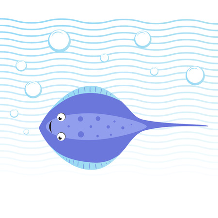 Trendy cartoon style cheerful stingray swimming underwater. Waves and bubbles. Educational simple gradient vector icon. Illustration