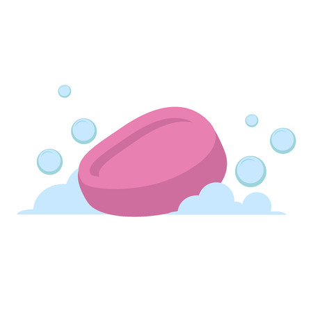 Vector cartoon flat style pink oval soap vector icon. Blue bubbles. Stylized bath accessories isolated on white background. Illustration