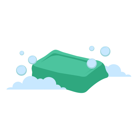 A Vector cartoon flat style green rectangular soap vector icon. Blue bubbles. Stylized bath accessories isolated on white background.