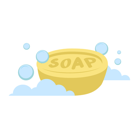 Vector cartoon flat style yellow oval soap vector icon. Blue bubbles. Stylezed bath accessories isolated on white background.