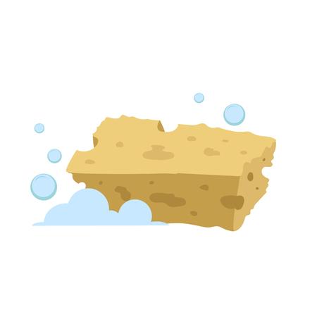 Vector cartoon flat style yellow rectangular sponge vector icon. Blue bubbles. Stylized bath and kitchen clearing accessories isolated on white background. Stock fotó - 83077651