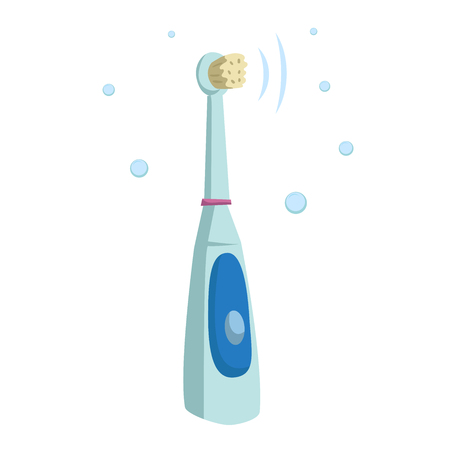 Trendy cartoon style ultrasound electric toothbrush. Hygiene and every day teeth protection vector illustration.
