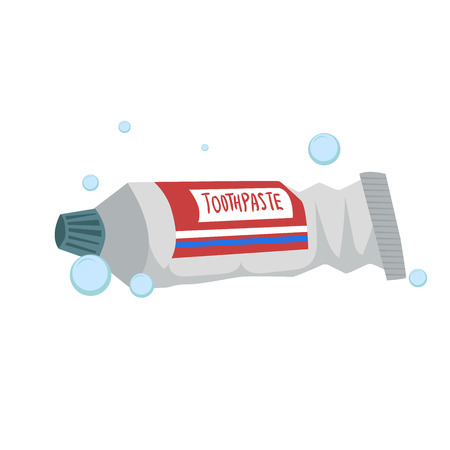 Trendy cartoon style fresh mint toothpaste tube. Every day hygiene and dental care vector illustration.