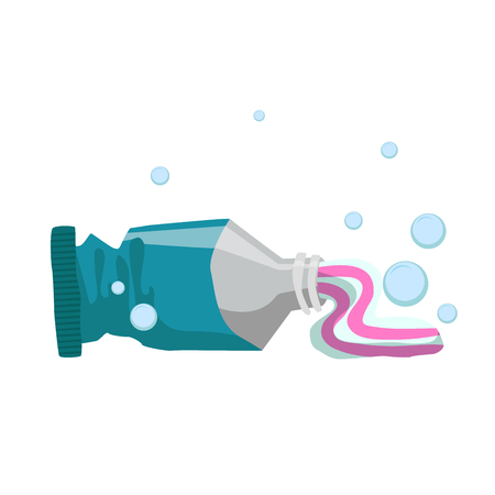 Trendy cartoon style fresh mint toothpaste used tube. Every day hygiene and dental care vector illustration.