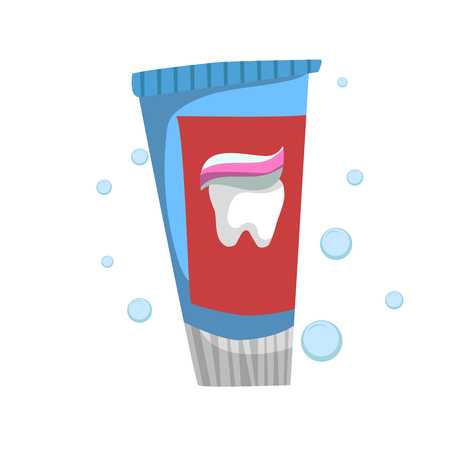 Trendy cartoon style fresh mint toothpaste standing tube. Every day hygiene and dental care vector illustration. Çizim