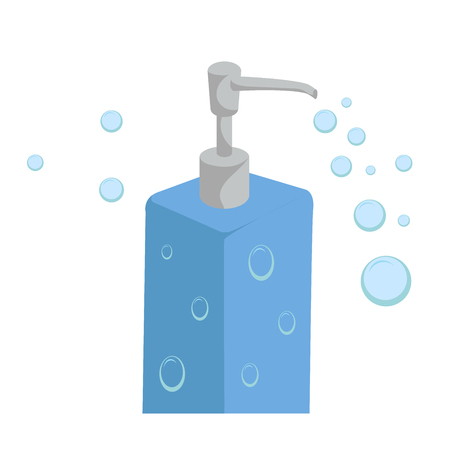 Trendy cartoon style liquid soap blue bottle with dispenser and bubbles. Every day hygiene and health care vector illustration.