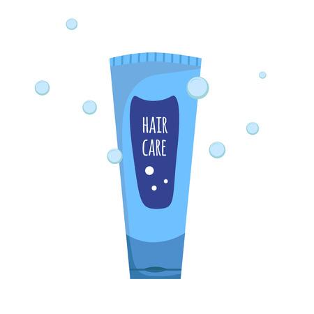 샴푸 또는 샤워 젤 유행 만화 파란색 튜브 병. 위생 및 헤어 케어 벡터 일러스트 레이션 일러스트