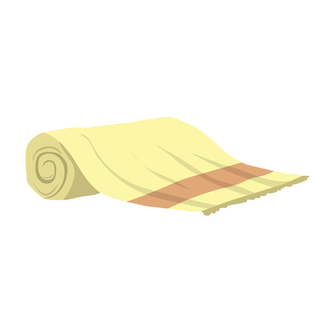 Vector cartoon flat style yellow rolled towel vector icon.  Stylized bath and spa accessory isolated on white background. Illustration