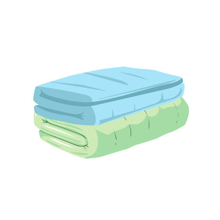 Cartoon style stacked green and blue towels icon. Healthcare and spa vector illustration.