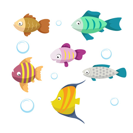 Cute coral reef fishes vector illustration icons set. Collection of funny colorful fish. Vector isolated cartoon characters. Illustration