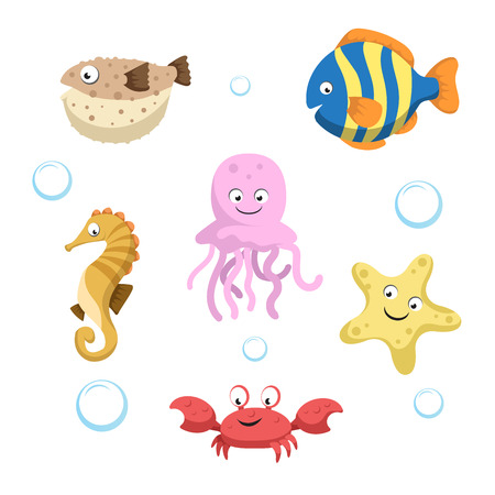 Vector cute different sea and ocean animals set. Isolated vector illustration. Colorful fish, seahorse, jellyfish, starfish, crab and blowfish. Illustration